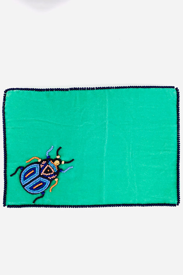 My Doris Aqua Velvet Beetle Purse - Large