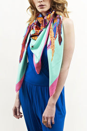 Rosie Fox Headdress Silk Scarf - Aqua