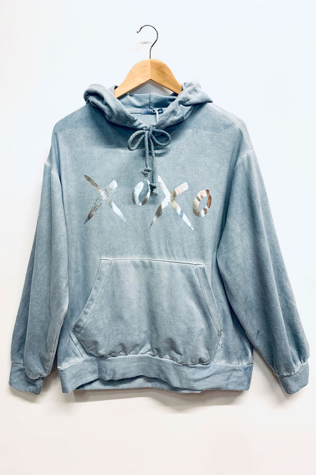 Blue Washed Hooded Sweatshirt