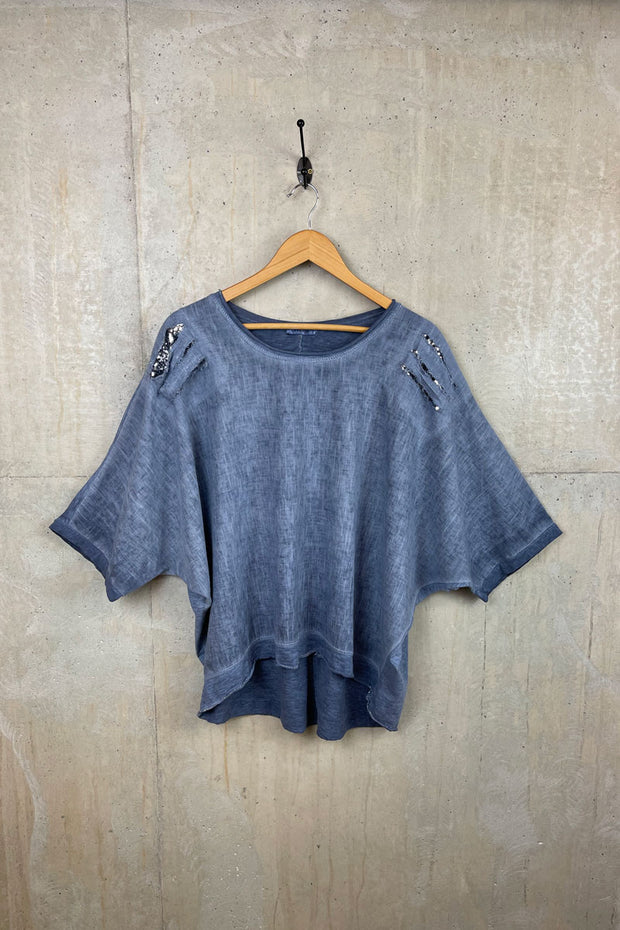 Womens Blue Top With Sequin Shoulder