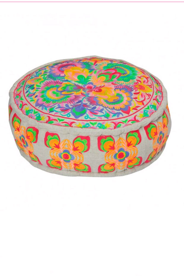 Bombay Duck Carnival Embroidered Pouffe