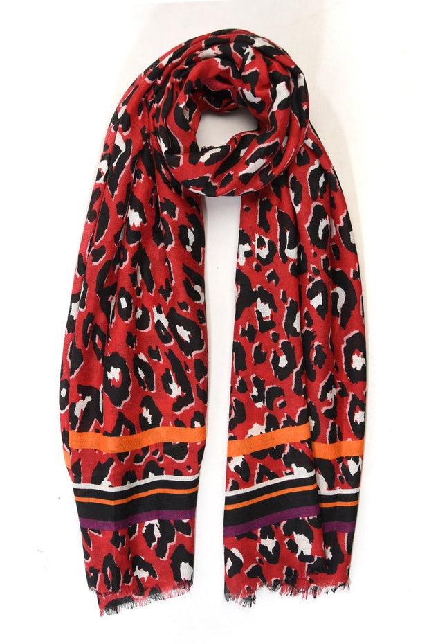 Red Animal Print Scarf
