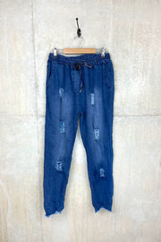 Ladies Denim Jean Joggers