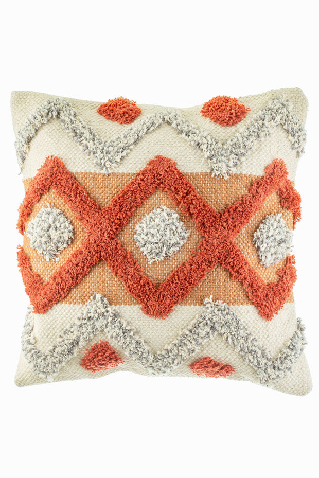 Orange Diamond Tufted Cushion