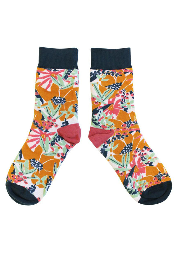 Disaster Design Mustard Floral Socks