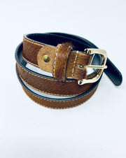 Brown Leather Pony Skin Belt