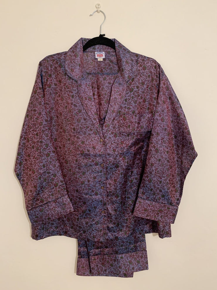 Sari Silk Pyjamas - Blues/Purples