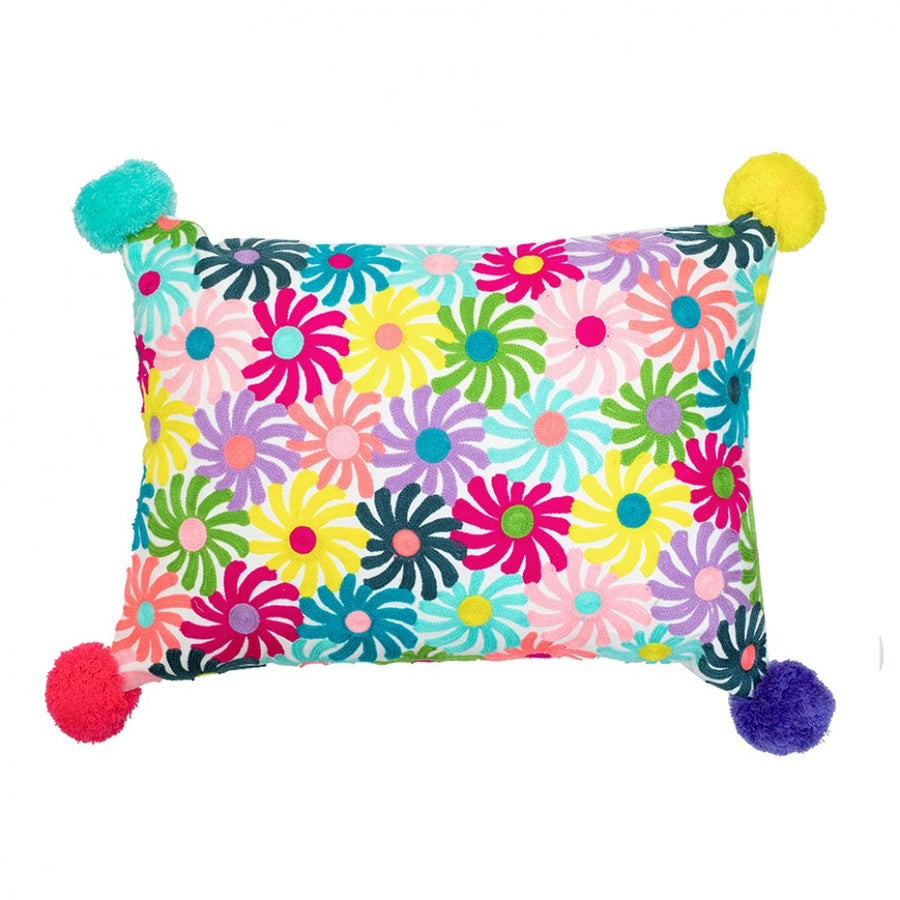Colour Pinwheels Pom Pom Cushion
