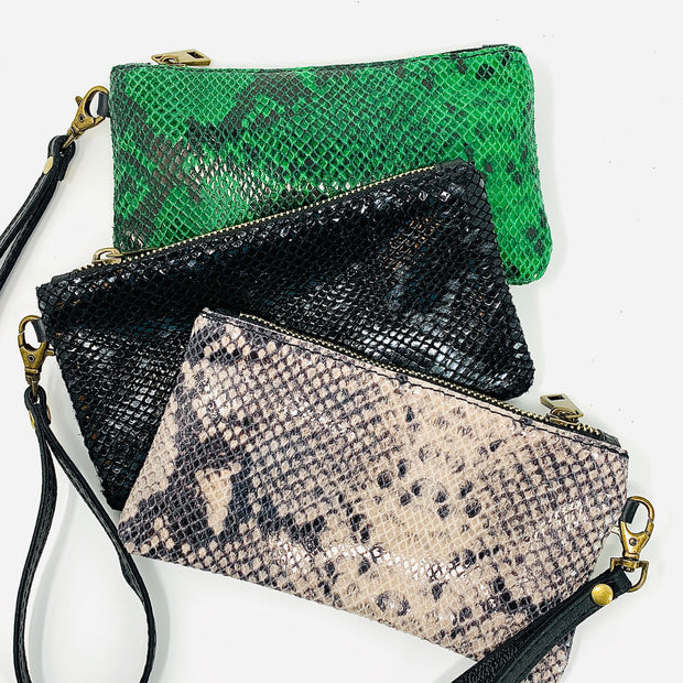 Snakeskin Print Leather Pouch
