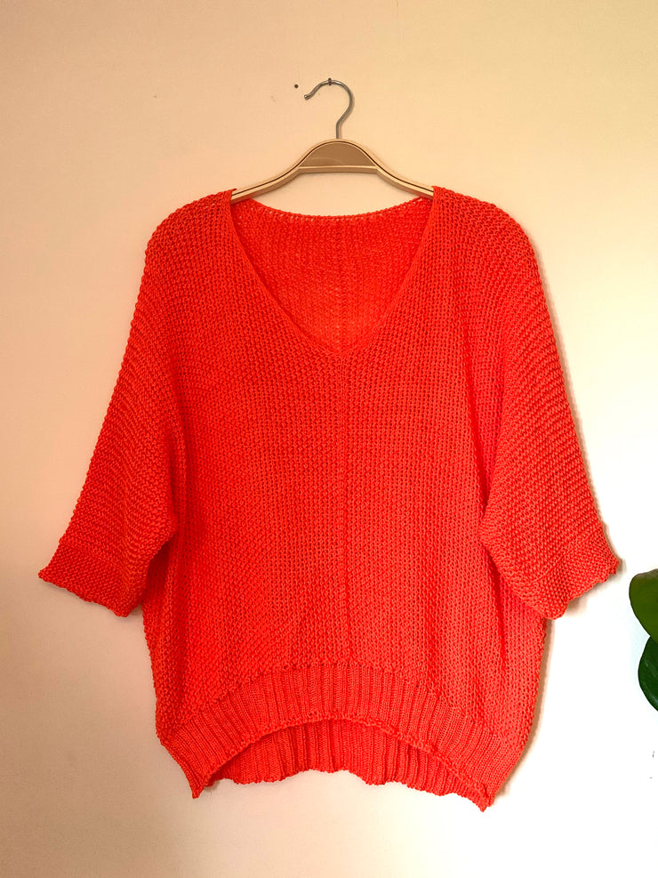 Open Knit Summer Jumper - Orange