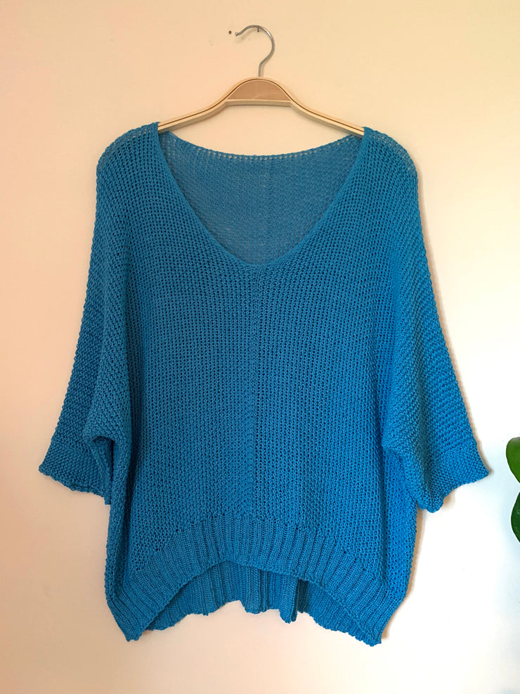 Open Knit Summer Jumper - Turquoise