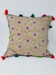 Cross Detail Tassel Cushion - Green/Blue