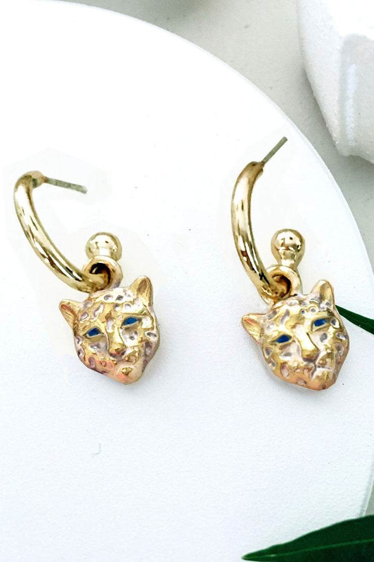 Bamboo Vera Snow Leopard Earrings