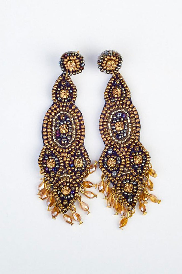 Long Drop Beaded Earring - Gold