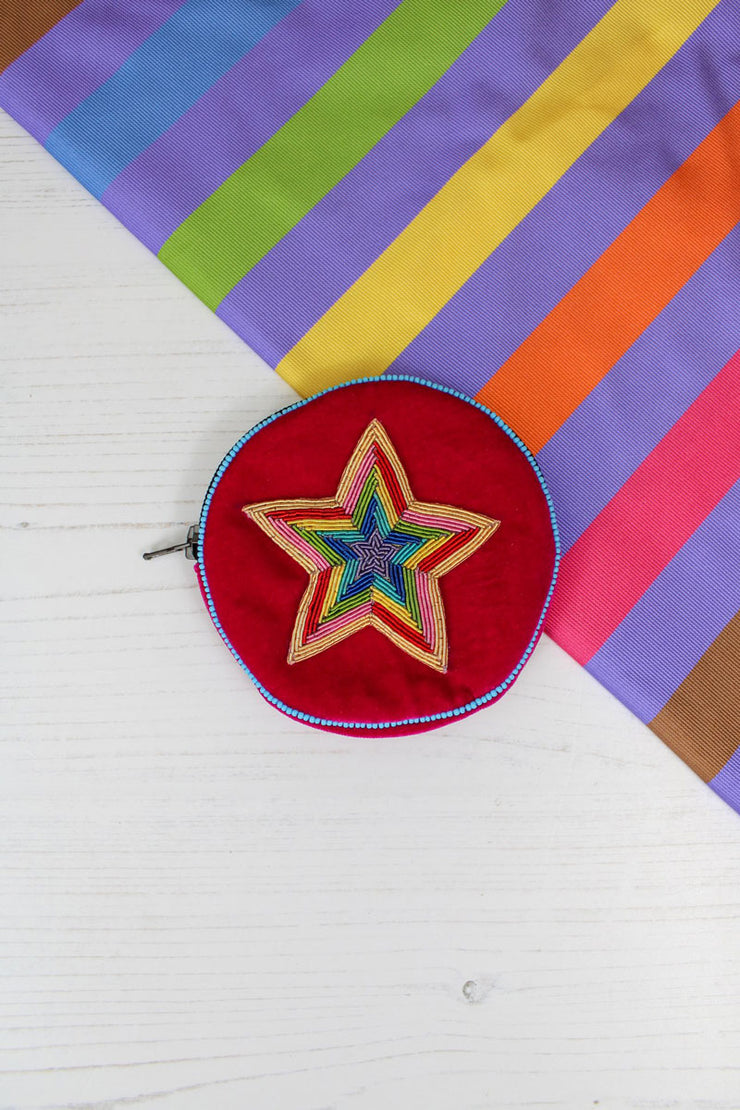 My Doris Rainbow Beaded Star Coin Purse