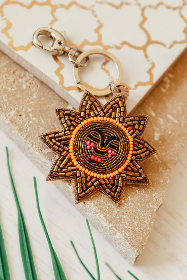 Beaded Sun Keyring