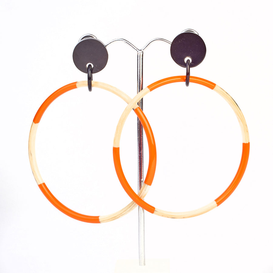 Horn Large Hoop with Orange Lacquer