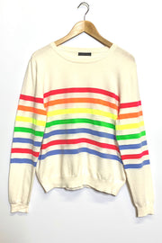 Cream Jumper with Neon Stripe