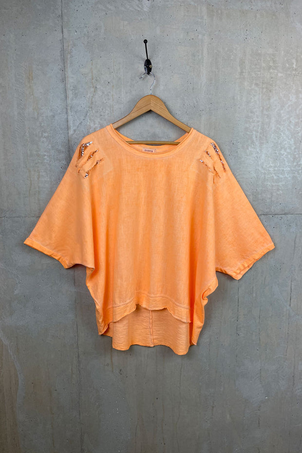 Womens Orange Sequin Rip Top