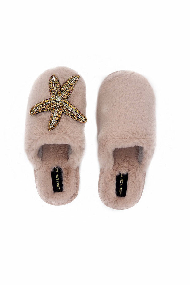 Laines London Closed Toe Slippers Starfish Brooch