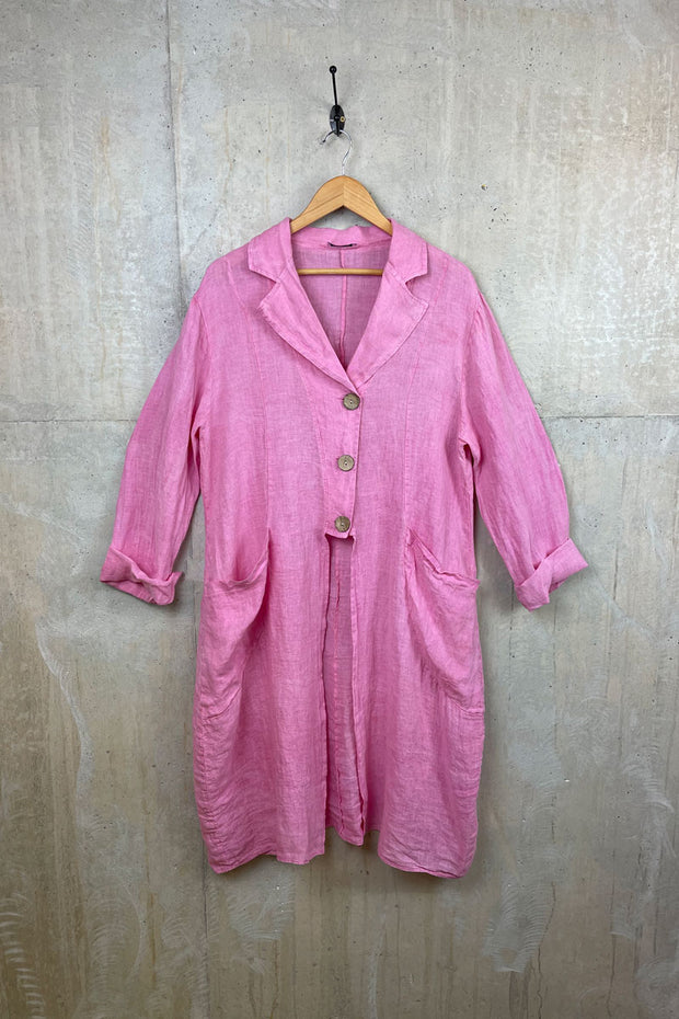 Pink Ladies Linen Shirt Coat