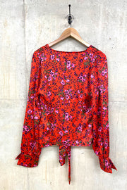 Liquorish Red Floral & Leopard Wrap Top