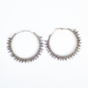 Large Beaded Hoop - Silver