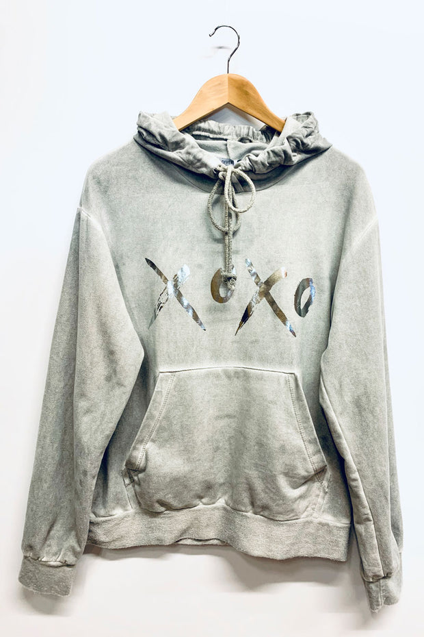 Grey Washed Hooded Sweatshirt