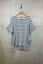 Ladies Stripe Split Hem Top