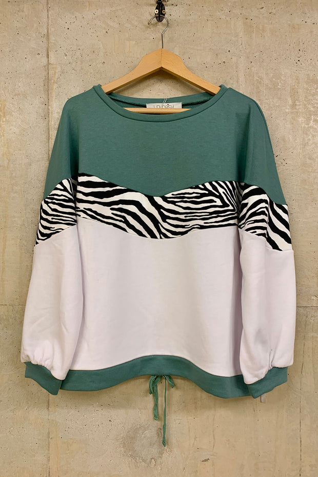 Liquorish Sage White and Zebra Sweatshirt
