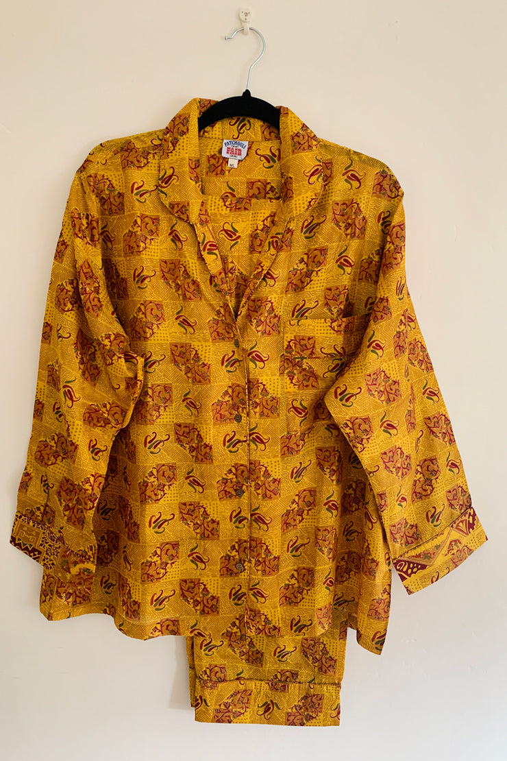 Sari Silk Pyjamas - Yellow