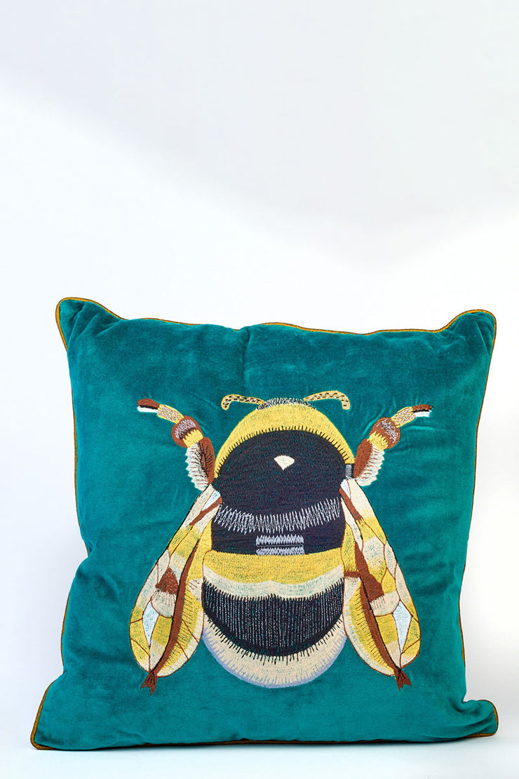 Velvet Embroidered Bee Cushion - Teal