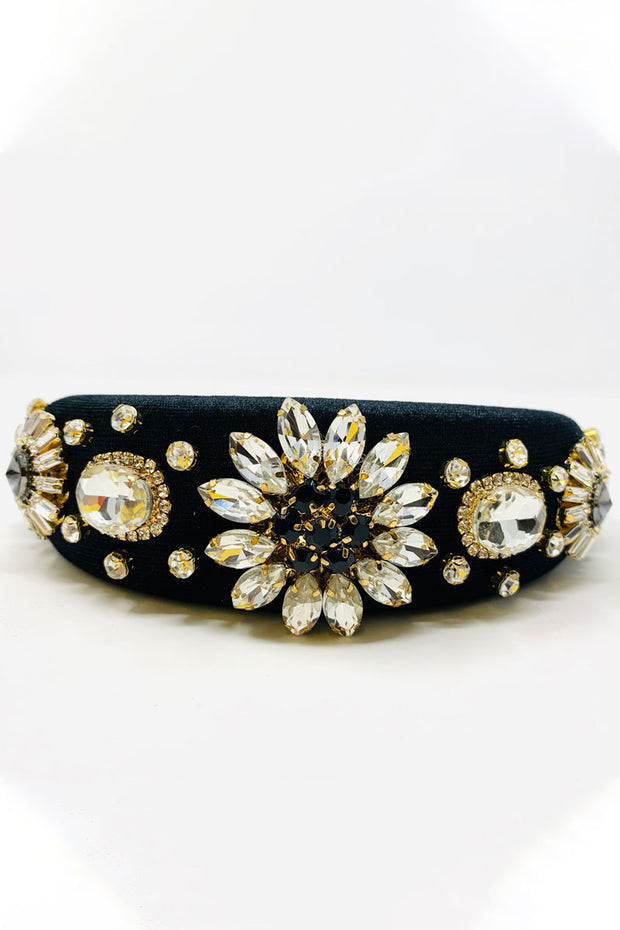 Luxe Jewelled Padded Hair Band - Black