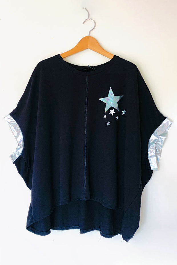 Silver Foil Star Poncho Top - Black