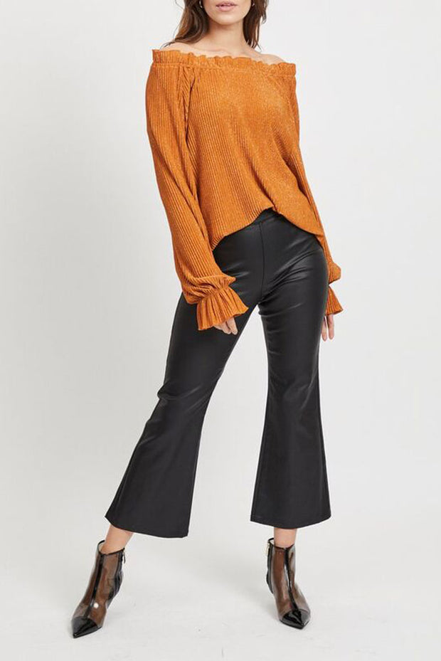 Coated Cropped Flared Trousers