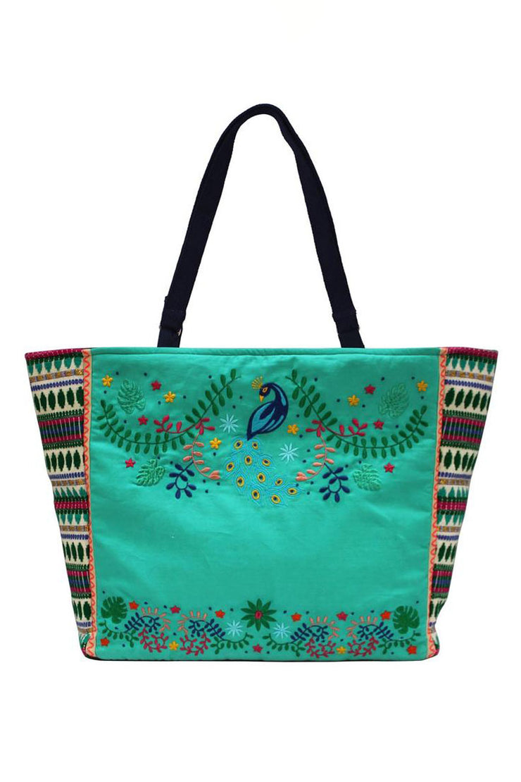 Disaster Designs Embroidered Peacock Tote
