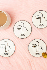 Sass & Belle Abstract Face Coasters (Set of 4)
