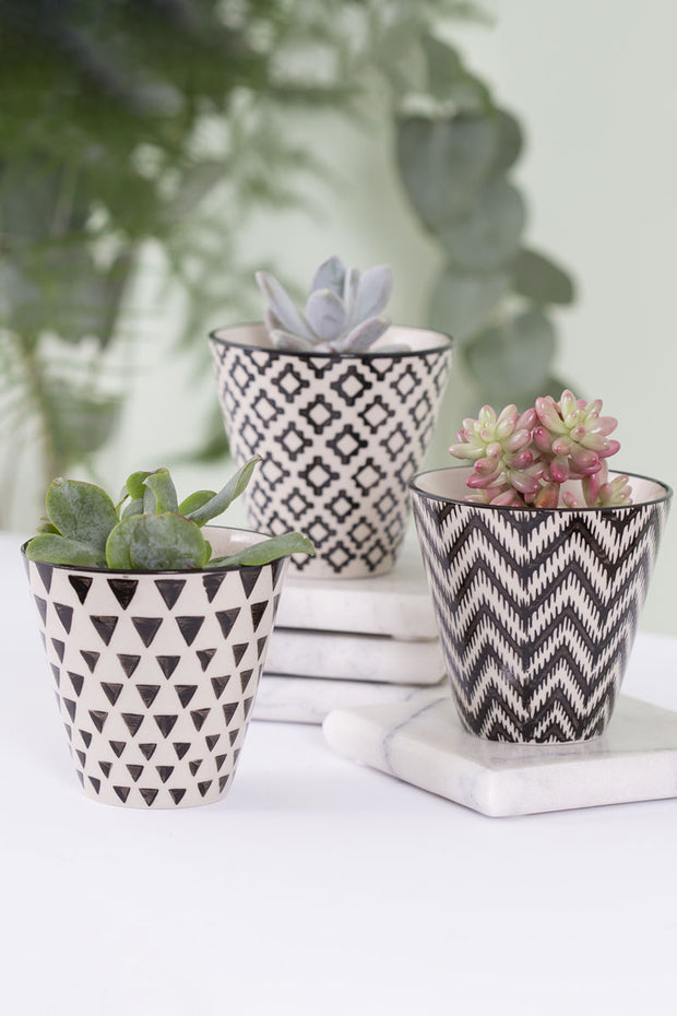Sass and Belle Mini Black Geo Planters - Set of 3