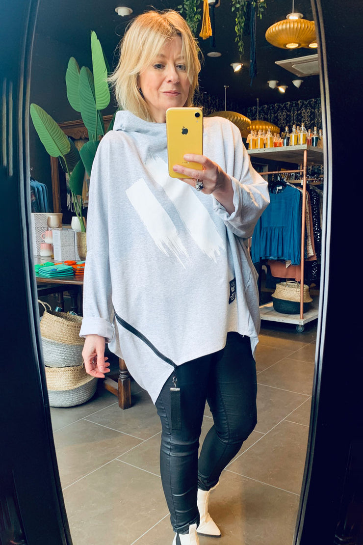 Oversized Abstract Hooded Sweatshirt