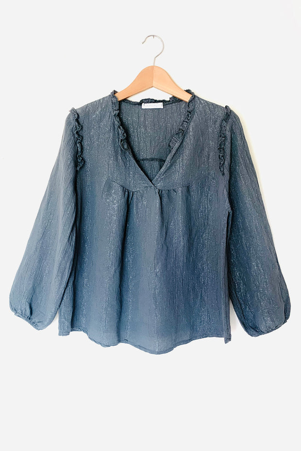 Frilled Silver Thread Crinkle Blouse