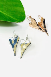 Hammered Elongated Heart Earrings