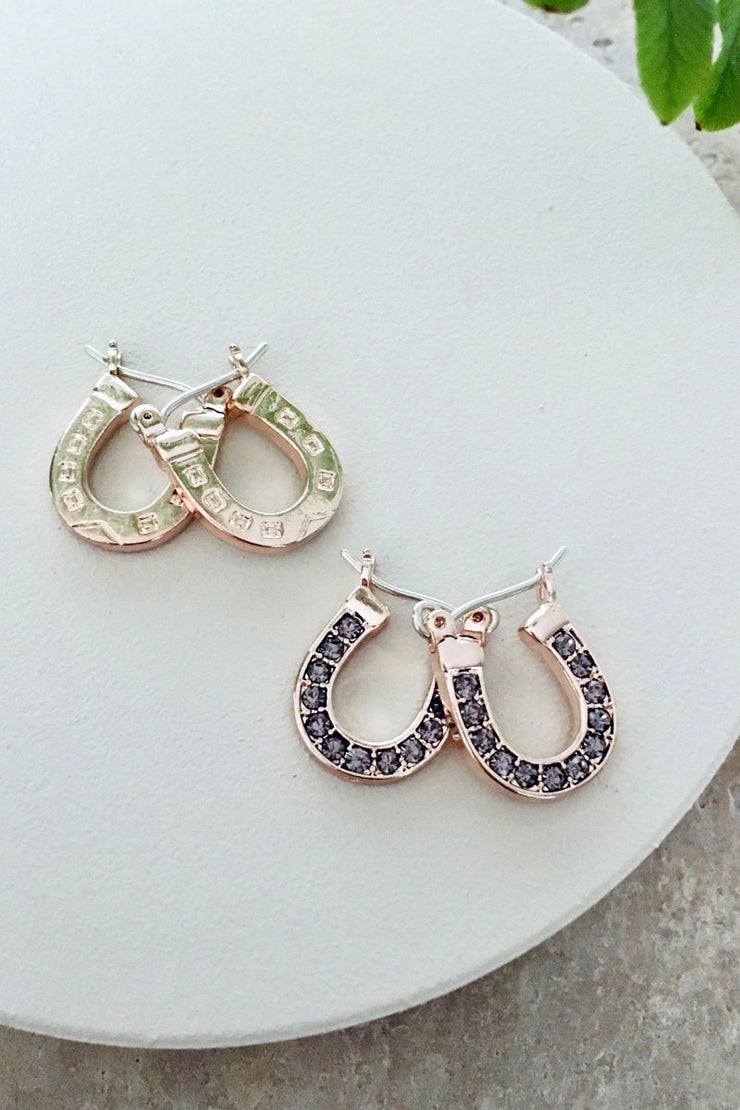 Lucky Horse Shoe Hoop Earrings