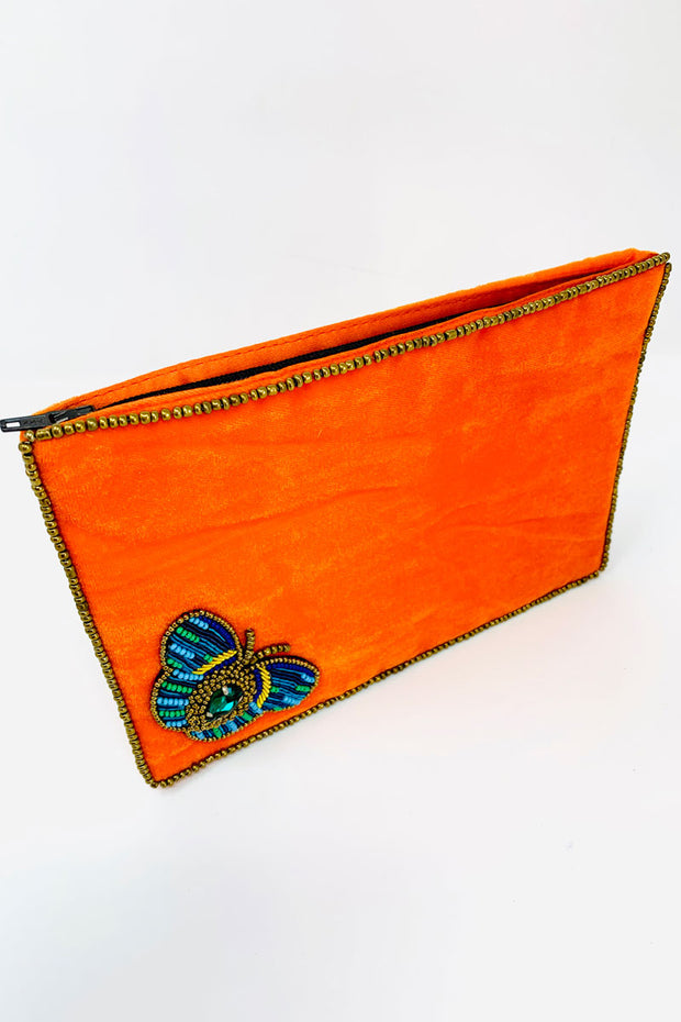 Orange Velvet Butterfly Purse - Large
