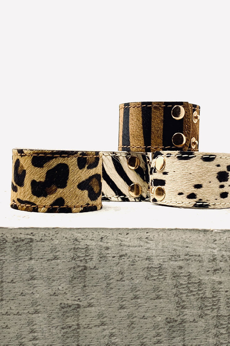 Pony Skin Leather Cuff - Tiger
