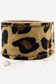 Pony Skin Leather Cuff - Leopard