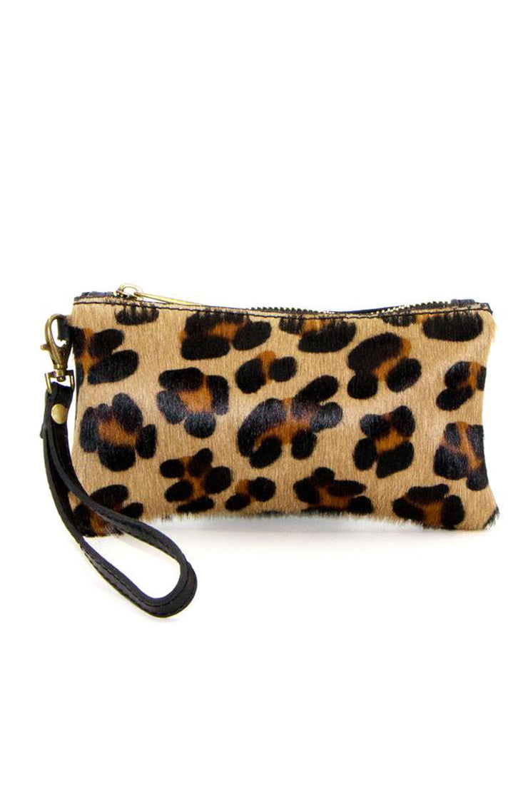 Leather Horsehair Pouch - Leopard