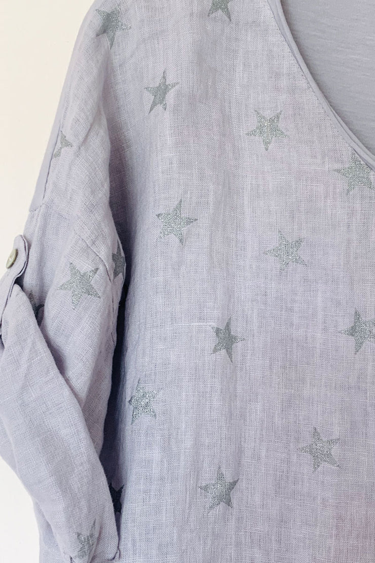 Grey Linen And Jersey Star Top
