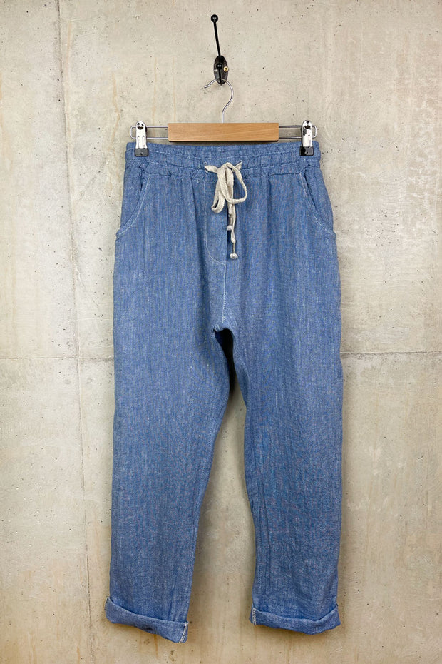 Ladies Linen Denim Style Trousers