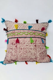 Maroon Tassel Cushion