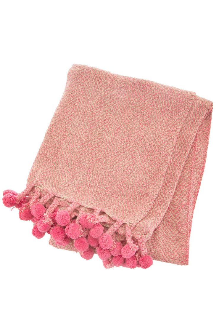 Pom Pom Herringbone Throw - Pink